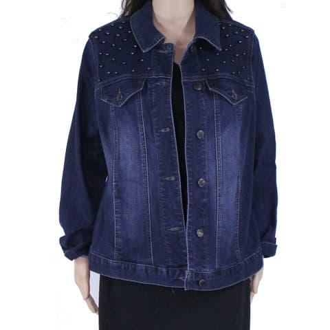 Charter Club Womens Jacket Blue Size 1X Plus Denim Studded Stretch
