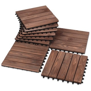 Shop Costway 11PCS Deck Tiles Fir Wood Patio Pavers Interlocking Decking Flooring 12x12 - Brown - Free Shipping Today - Overstock - 25719692  sc 1 st  Overstock.com & Shop Costway 11PCS Deck Tiles Fir Wood Patio Pavers Interlocking ...