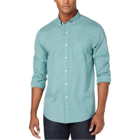 Club Room Mens Mini-Gingham Button Up Shirt
