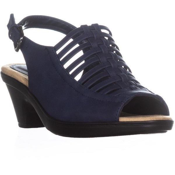 Easy Street Katerina Woven Ankle Strap Sandals, Navy