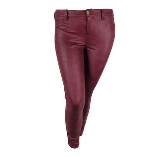 Tinseltown Juniors' Faux-Leather Skinny Jeans (Red, 13) - Red