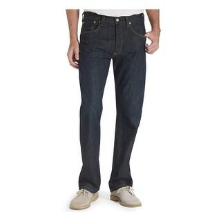 Levi Strauss & Co. Mens 501 Straight Leg Jeans Original Fit Dark Wash - 42/30