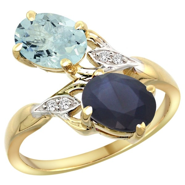 Shop 14k Yellow Gold Diamond Natural Aquamarine & Blue
