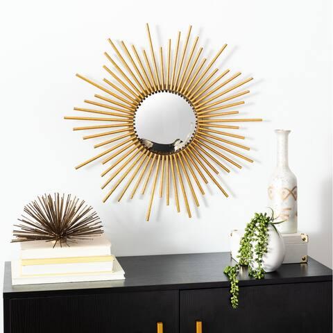 """Safavieh Rosaland 24-inch Gold Sunburst Round Mirror - 24"""" W x 1.5"""" L x 24"""" H"""