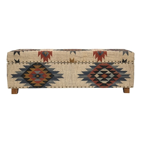 Handmade Kilim Upholstered Storage Bench