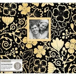 "Black W/Gold Floral - K&Company Patterned Post Bound Window Album 12""X12"""