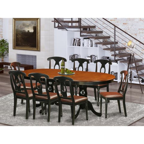 Black/Cherry Rubberwood Dining Table Set with 1 Table and 8 Chairs (Finish Option)