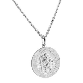 St. Christopher Medal Pendant Real Sterling Silver Round Charm 18 Inch Chain