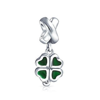 Bling Jewelry 925 Silver Lucky Four Leaf Clover Heart Dangle Bead Charm