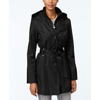 INC International Concepts Stand-Collar Raincoat Black Medium