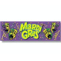 "Club Pack of 12 Purple, Green and Yellow ""Mardi Gras""Sign Banner Party Decorations 5' - Purple"