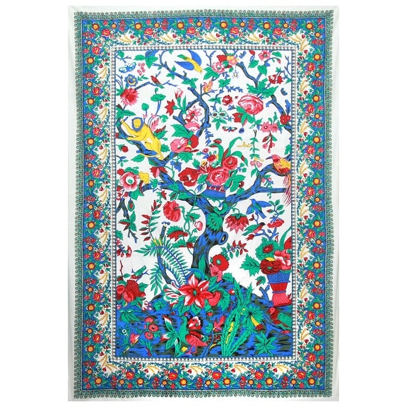 Handmade 100-percent Cotton Candy Tree of Life Tapestry Tablecloth Coverlet 60 x 90