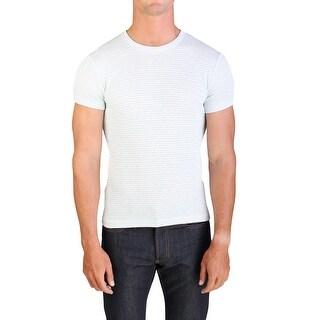 Prada Men's Cotton Crewneck T-Shirt Sweater Blue