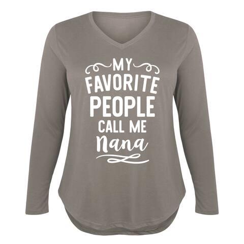 My Favorite People Nana - Ladies Plus V-Neck Long Sleeve Tee - STONE