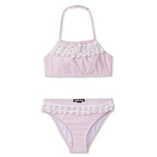 Stella Cove Girls White Pink Pom-Pom Trim 2 Pc Bikini Swimsuit