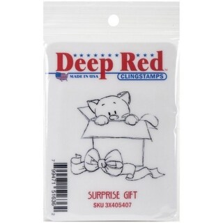 Deep Red Stamps Surprise Gift Rubber Cling Stamp - 2 x 2