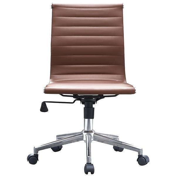 2xhome Brown Sleek Swivel Modern Style Adjustable Pu Leather Office Chair Mid Back Armless Ribbed Chair Conference Room No Arms On Sale Overstock 14390879