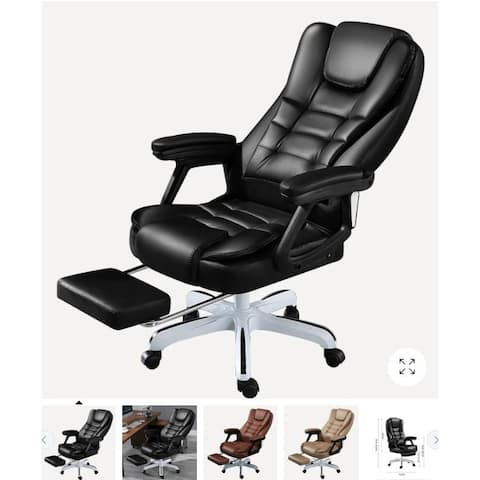 """Kerrogee Full Leather Adjustable Office Recliner Chair with Footrest - 36.6""""H x 23.6''D x 23.6''W"""