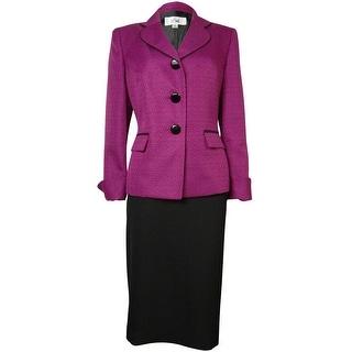 Le Suit Women's Woven Black Trim Vienna Skirt Suit