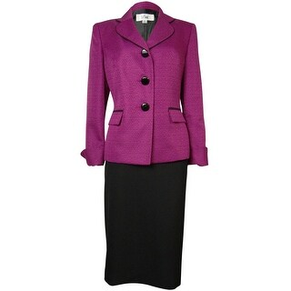 Le Suit Women's Woven Black Trim Vienna Skirt Suit - berry/black