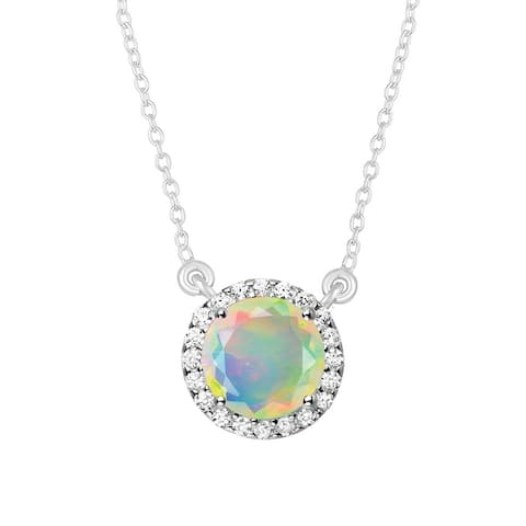 """Sterling Silver with Ethiopian Opal & White Topaz Necklace -18"""" Chain"""
