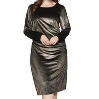 RACHEL Rachel Roy Gold Womens Size 2X Plus Velvet Sheath Dress