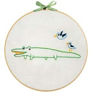 "Alligator - Penguin & Fish Embroidery Kit 8"" Round Stitched In Floss"