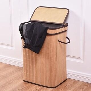 Costway Rect Bamboo Hamper Laundry Basket Washing Cloth Storage Bin Bag W/Folding Lid - nature