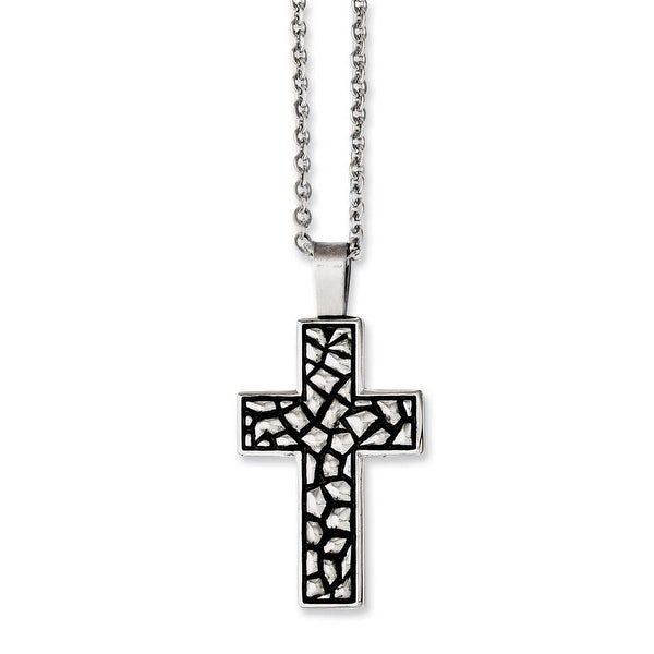 Chisel Stainless Steel Antiqued Pebble Cross Necklace (2 mm) - 24 in