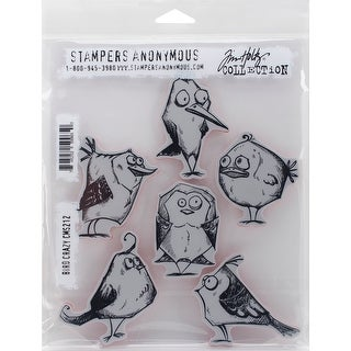 "Tim Holtz Cling Stamps 7""X8.5""-Bird Crazy"