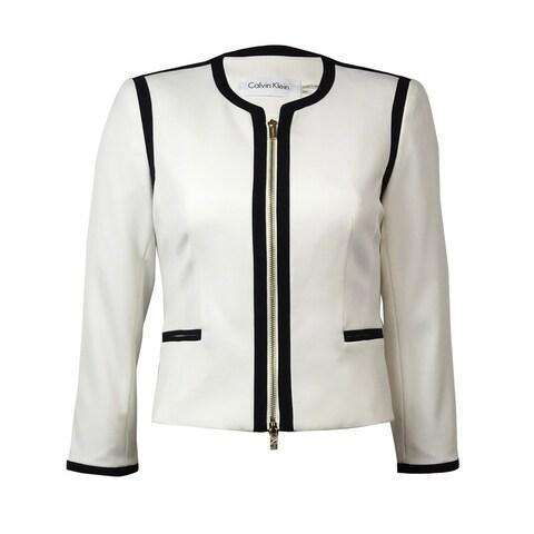 Calvin Klein Women's Zip Front Faux Pocket Blazer - Cream/Black