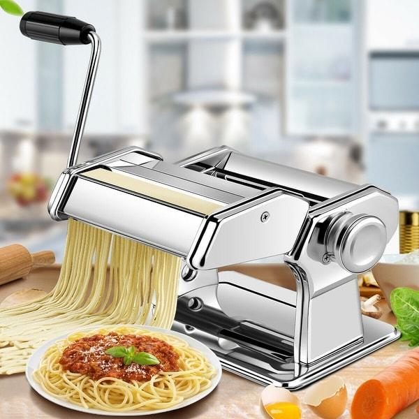 Costway 5 in 1 Stainless Steel Pasta Lasagna Spaghetti Tagliatelle Ravioli Maker Machine - sliver