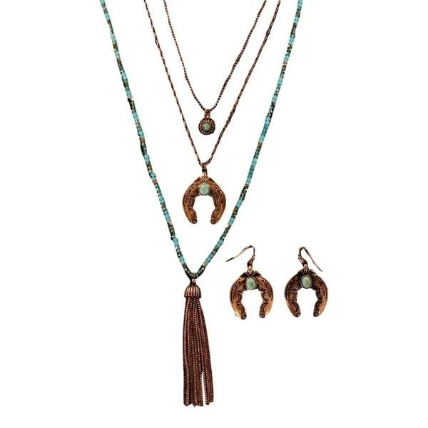 Blazin Roxx Jewelry Womens Necklace Earrings Horseshoe Copper 29171