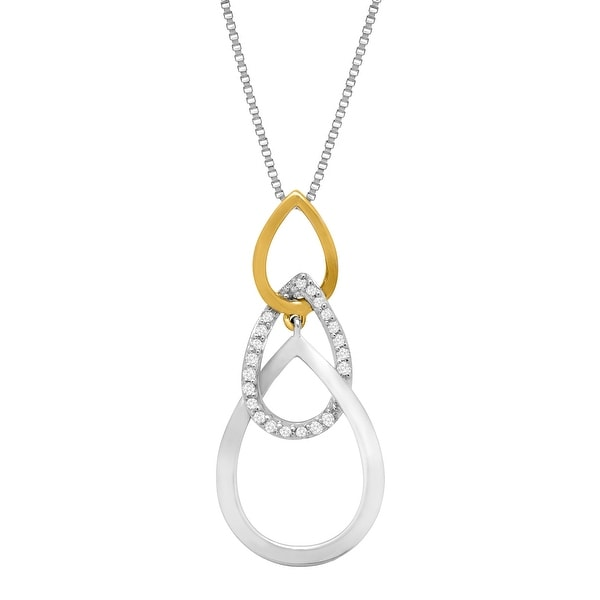 1/10 ct Diamond Three Tiered Drop Pendant in Sterling Silver & 10K Gold