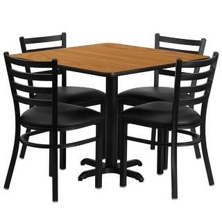 "Dyersburg 5pcs Table Set Square 36"" Natural X-Base, Black Metal Chairs"