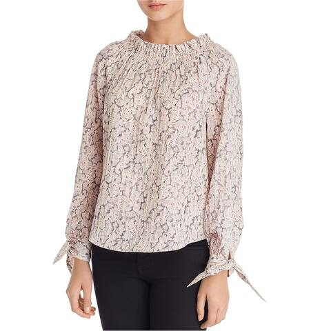 Rebecca Taylor Womens Smocked Neckline Pullover Blouse