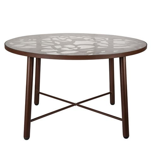 LeisureMod Devon Round Glass Top Aluminum Base Outdoor Dining Table - 47.25 x 47.25