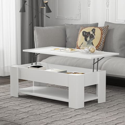 """Kerrogee 41 Inch Lift Top Coffee Table - Hidden Storage and Shelf - 4 Colors - 41.3"""" x 19.7"""""""