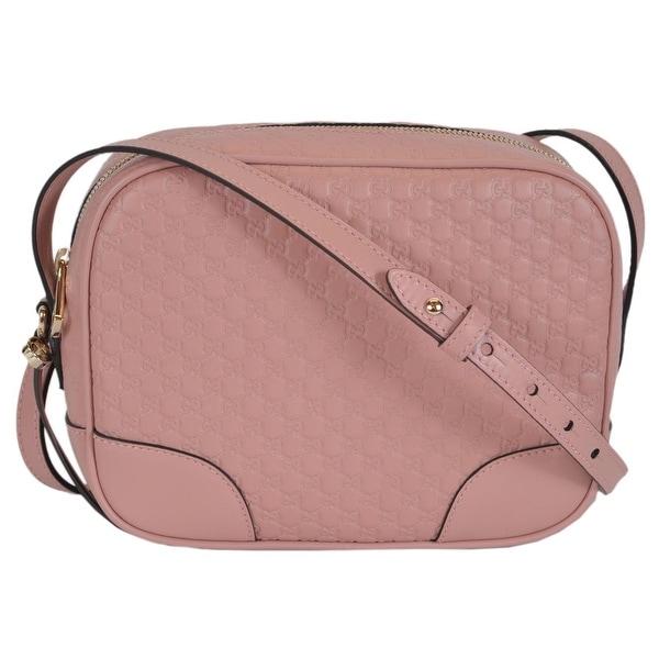 94bb1f29520 Gucci 449413 Soft Pink Leather Micro GG Guccissima BREE Crossbody Purse Bag  - 8.5