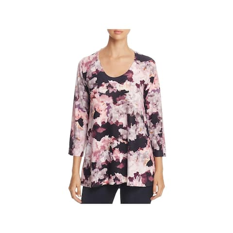Nally & Millie Womens Tunic Top Floral Crew Neck - Pink