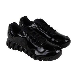 Reebok Zigpulse SE Mens Black Patent Leather Running Shoes