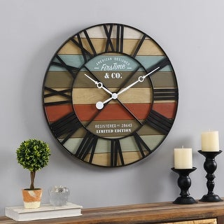 FirsTime & Co.® Colorful Maritime Farmhouse Planks Clock, American Crafted, Multi-Color, Wood, 24 x 2 x 24 in - 24 x 2 x 24 in