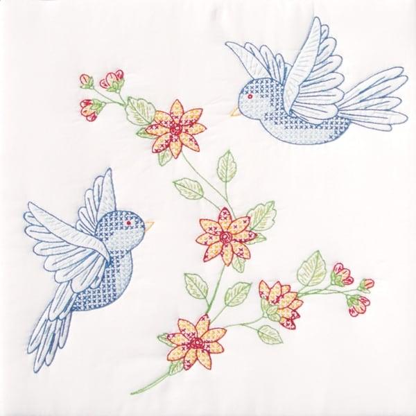 """Stamped White Quilt Blocks 18""""X18"""" 6/Pkg-Birds"""