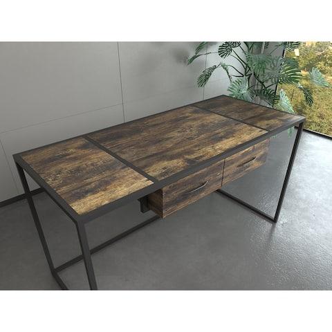 "Celipu Rectangular 55""W x 24""D Parnassus Rustic Brown Writing Desk"
