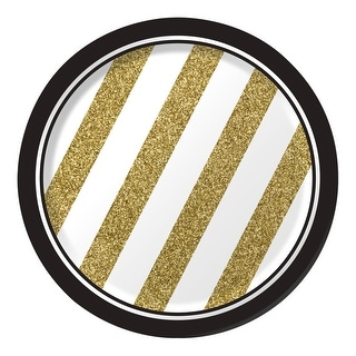 """Club Pack of 96 White and Gold Striped Round Party Luncheon Paper Plates 7"""""""