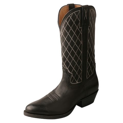 """Twisted X Western Boots Mens R Toe 13"""" Shaft Pull On Black"""
