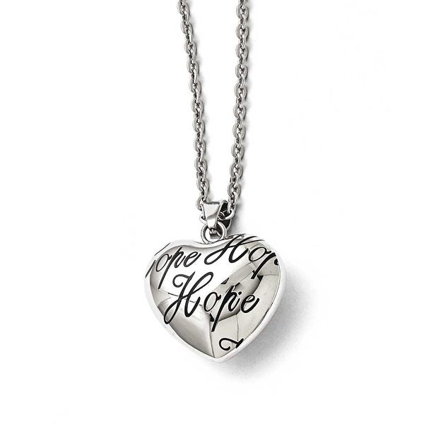 Chisel Stainless Steel Polished and Enameled Hope Heart Necklace - 18 in