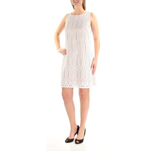 VINCE CAMUTO Womens White Eyelet Sleeveless Jewel Neck Above The Knee Dress Size: 10