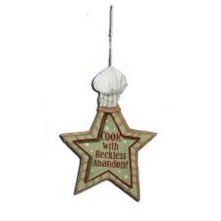 """Mom's Kitchen """"Cook with Reckless Abandon"""" Star Chef Hat Christmas Ornament 6"""""""