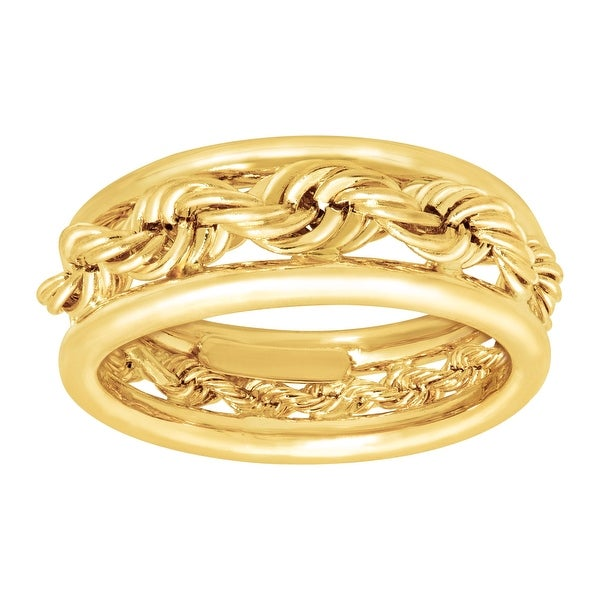 Just Gold Rope Band Ring in 14K Gold - Yellow